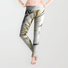 Gold Pineapple on Marble Leggings