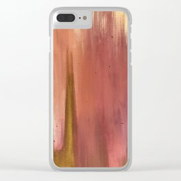 Blush with Gold Abstract Clear iPhone Case