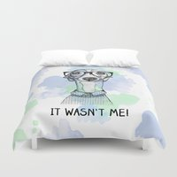greyhound Duvet Covers featuring Greyhound with glasses by Bentje Graumann