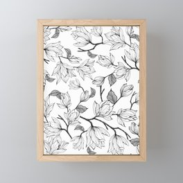 Magnolia pattern Framed Mini Art Print