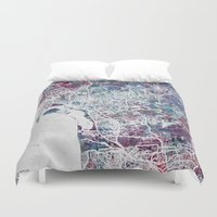san diego Duvet Covers featuring San Diego map by MapMapMaps.Watercolors