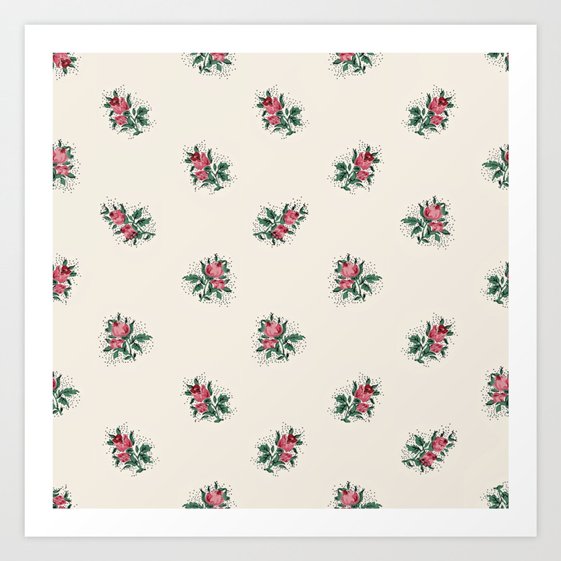 Pretty Pink Roses Girly Vintage Wallpaper Pattern Art Print