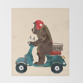 scooter bear Throw Blanket
