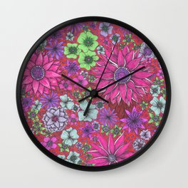 Secret Garden in Pink Wall Clock