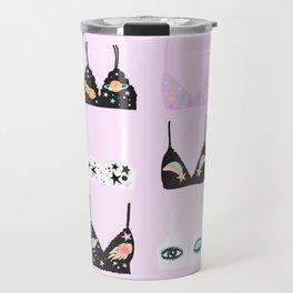 space bras on pink background Travel Mug