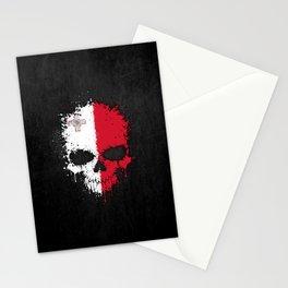 Flag of Malta on a Chaotic Splatter Skull Stationery Cards
