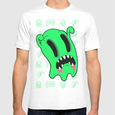 Ghosting MEDIUM White Mens Fitted Tee