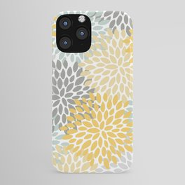 Flowered Phone Cases, Yellow, Aqua and Grey, iphone cades iPhone Case