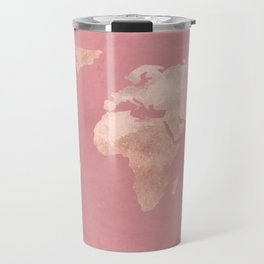 Rosegold World Map Sans Type Travel Mug