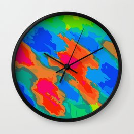 blue red orange and green painting abstract background Wall Clock