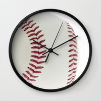 baseball Wall Clocks featuring Baseball by Pedro Nogueira