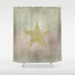 Sparkling Glamorous Golden Star Shower Curtain