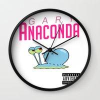 anaconda Wall Clocks featuring Gary Anaconda (Parody) by TxzDesign