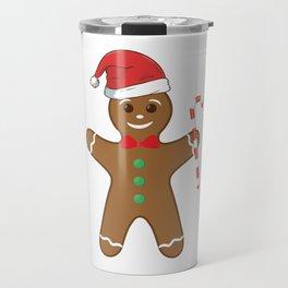 Cute Gingerbread Man In Santa Hat Candy Cane Travel Mug