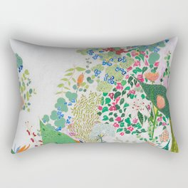 Painterly Floral Jungle on Pink and White Rectangular Pillow