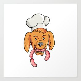 Chef Dog Biting Sausage String Cartoon Color Art Print