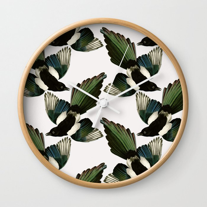 A Tiding Of Magpies Wall Clock