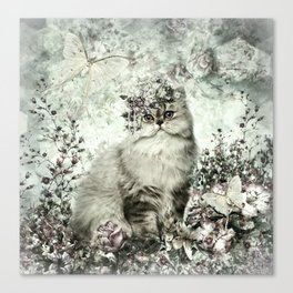 FLORAL KITTY Canvas Print