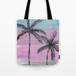 two palm trees sunset sky Tote Bag