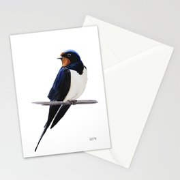 Barn swallow, Bird painting Stationery Cards