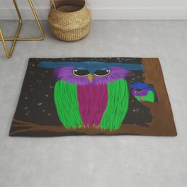 The Prismatic Crested Owl Rug