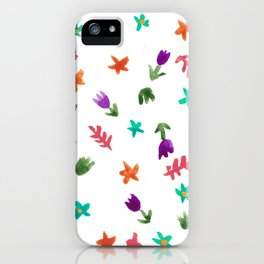 Hand Painted Calico Floral Pattern (Purple Aqua Green Orange Berry) iPhone Case