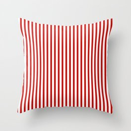 Red & White Maritime Vertical Small Stripes - Mix & Match with Simplicity of Life Throw Pillow
