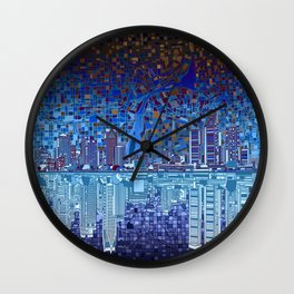 detroit city skyline Wall Clock