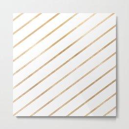 Geometric modern white trendy gold stripes pattern Metal Print