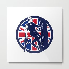 British Arborist Union Jack Flag Icon Metal Print