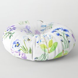 blue and purple flower collection watercolor Floor Pillow