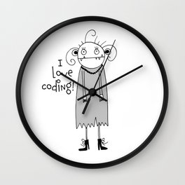 Cute zombie illustration Wall Clock