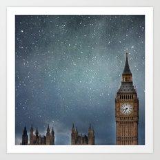 Stars Over Big Ben Art Print
