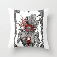 mad hatter Throw Pillows featuring Mad Hatter by Mongolizer