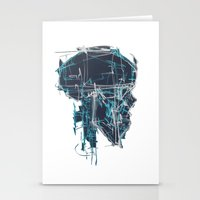 blueprint Stationery Cards featuring Cranial Blueprint by James Beech