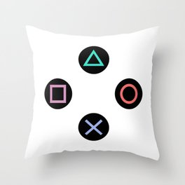 Play with Playstation Controller Buttons Throw Pillow