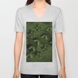Camouflaged butterflies and flowers in green Unisex V-Neck