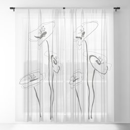 Line Art of Flowers Sheer Curtain
