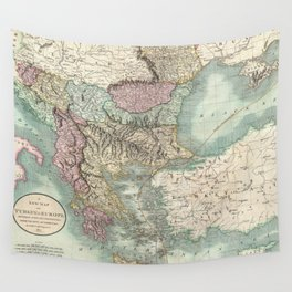 Vintage Map of The Balkans and Turkey (1801) Wall Tapestry