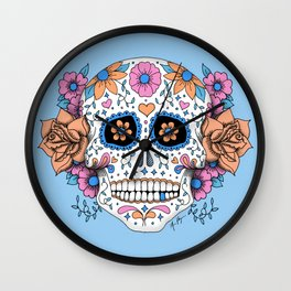 Sugar Skull in Blue and Coral Wall Clock