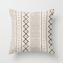 Boho Farmhouse Rustic Pattern in Cream and Black Throw Pillow