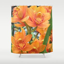 Orchid in Orange Shower Curtain