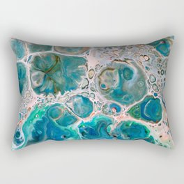 Blue Unique Fluid Pour Acrylic Painting Rectangular Pillow