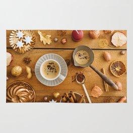 Christmas decoration on wood Rug