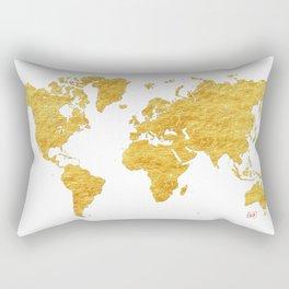 World Map Gold Vintage Rectangular Pillow