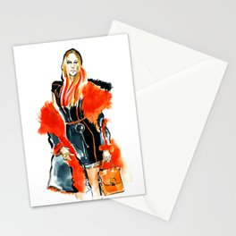 fashion #49: woman in a coat with red fur Stationery Cards