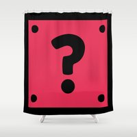video game Shower Curtains featuring Video Game Mystery Box by Thomas Ramey