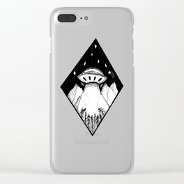 Spaceship in the mountains Clear iPhone Case