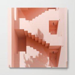 Pastel Pink Stairways and Doors   Muralla Roja Minimalistic Architecture   Spain Minimal Door Photography Metal Print