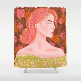 Lady with pink hair Shower Curtain